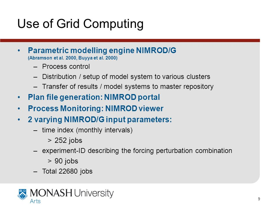 www.monash.edu.au 9 Use of Grid Computing Parametric modelling engine NIMROD/G (Abramson et al.