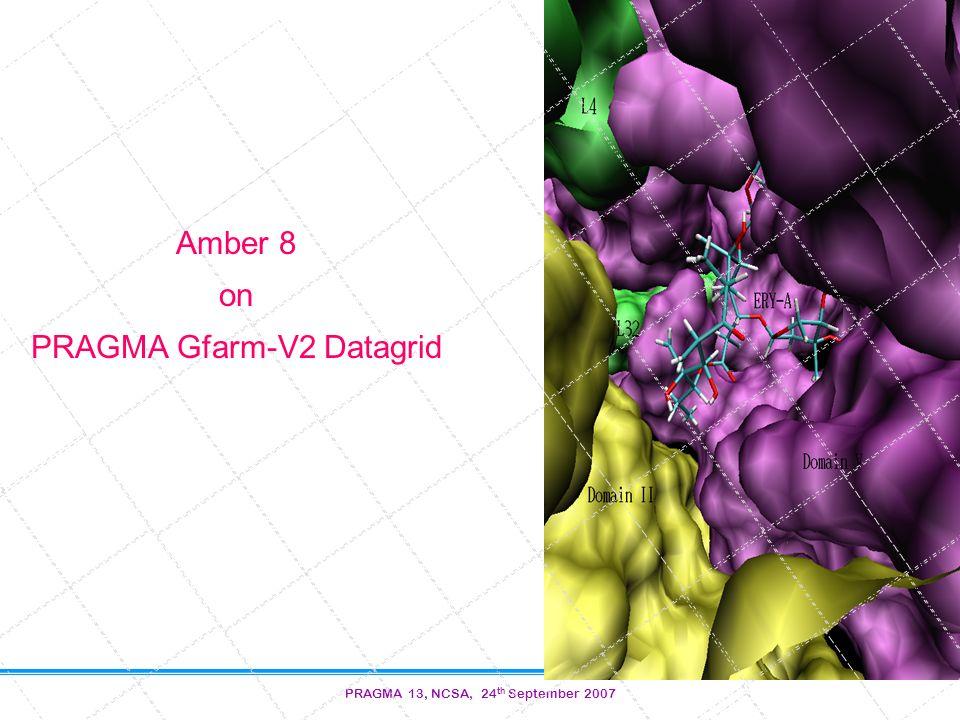 PRAGMA 13, NCSA, 24 th September 2007 Amber 8 on PRAGMA Gfarm-V2 Datagrid
