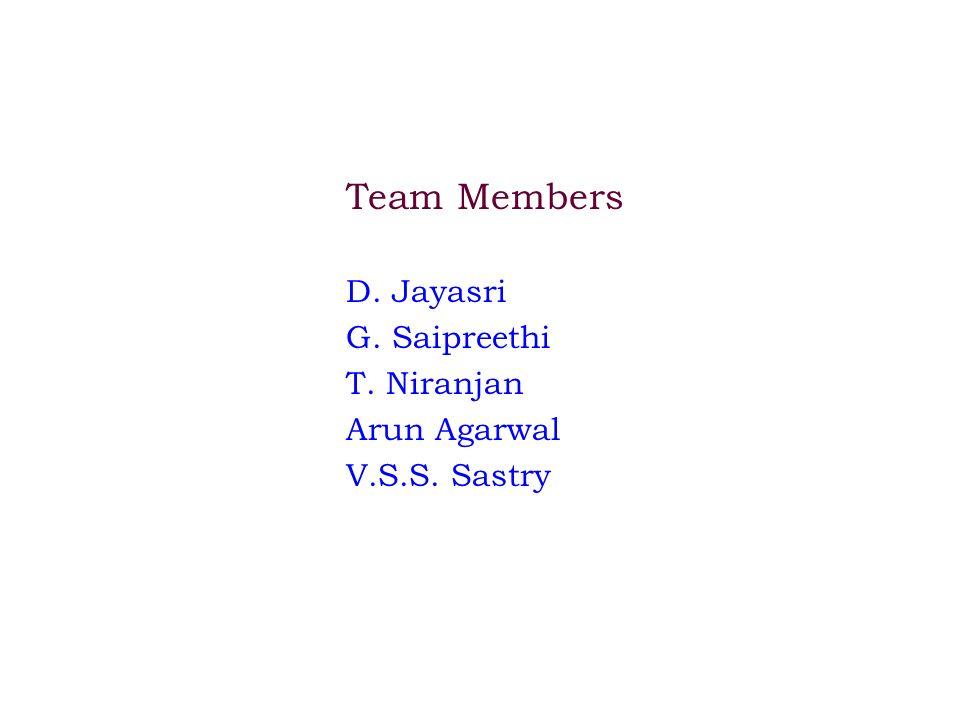 Team Members D. Jayasri G. Saipreethi T. Niranjan Arun Agarwal V.S.S. Sastry