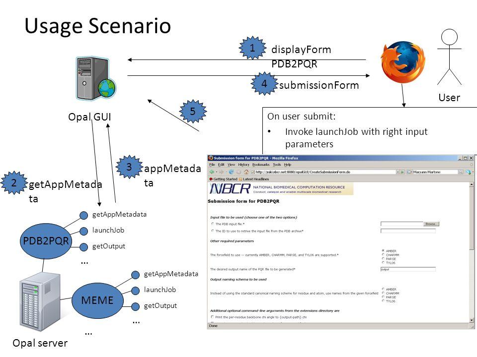 getAppMetadata launchJob getOutput … PDB2PQR getAppMetadata launchJob getOutput … MEME … Opal server Opal GUI displayForm PDB2PQR getAppMetada ta appMetada ta submissionForm User On user submit: Invoke launchJob with right input parameters Usage Scenario 1 5 4 3 2