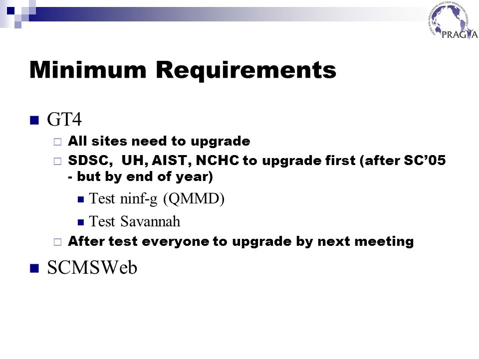 Minimum Requirements GT4 All sites need to upgrade SDSC, UH, AIST, NCHC to upgrade first (after SC05 - but by end of year) Test ninf-g (QMMD) Test Savannah After test everyone to upgrade by next meeting SCMSWeb