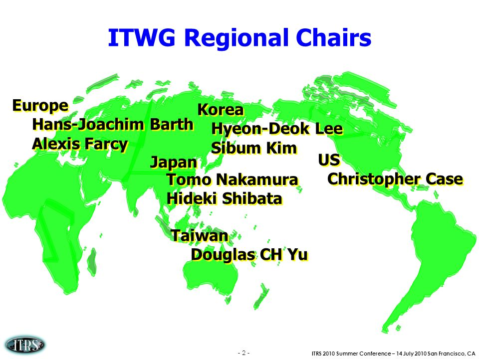 ITRS 2010 Summer Conference – 14 July 2010 San Francisco, CA - 2 - ITWG Regional Chairs US Christopher Case US Christopher Case Japan Tomo Nakamura Hi