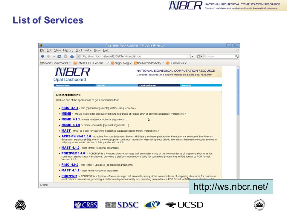 List of Services http://ws.nbcr.net/