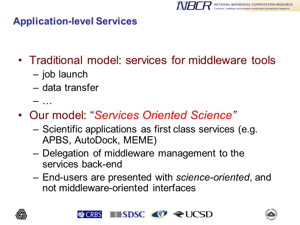 Application-level Services Traditional model: services for middleware tools –job launch –data transfer –… Our model: Services Oriented Science –Scient