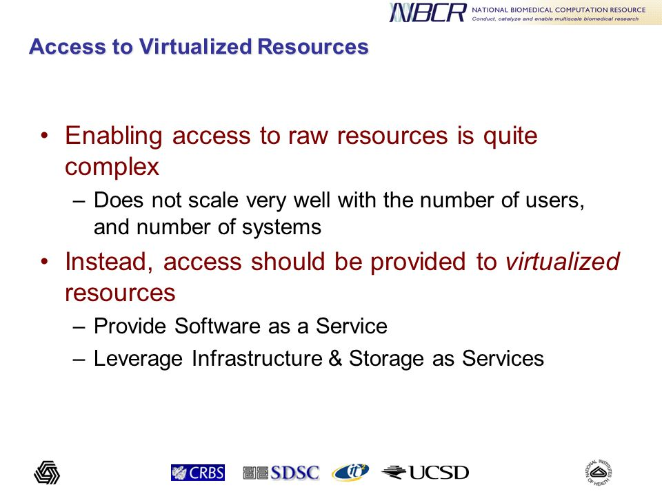 Access to Virtualized Resources Enabling access to raw resources is quite complex –Does not scale very well with the number of users, and number of sy