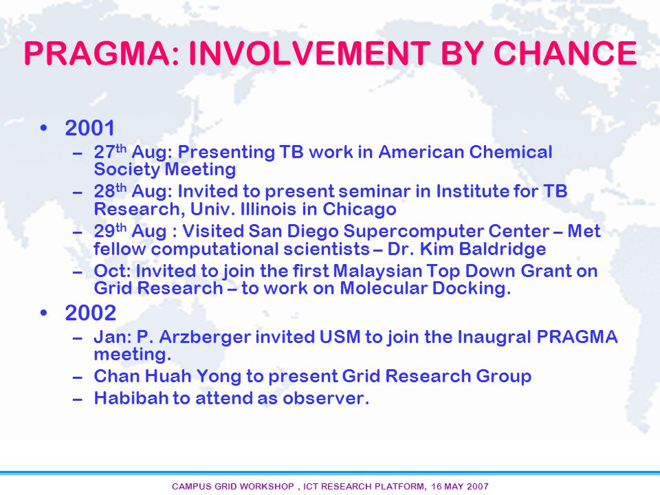 CAMPUS GRID WORKSHOP, ICT RESEARCH PLATFORM, 16 MAY 2007 PRAGMA: INVOLVEMENT BY CHANCE 2001 –27 th Aug: Presenting TB work in American Chemical Society Meeting –28 th Aug: Invited to present seminar in Institute for TB Research, Univ.