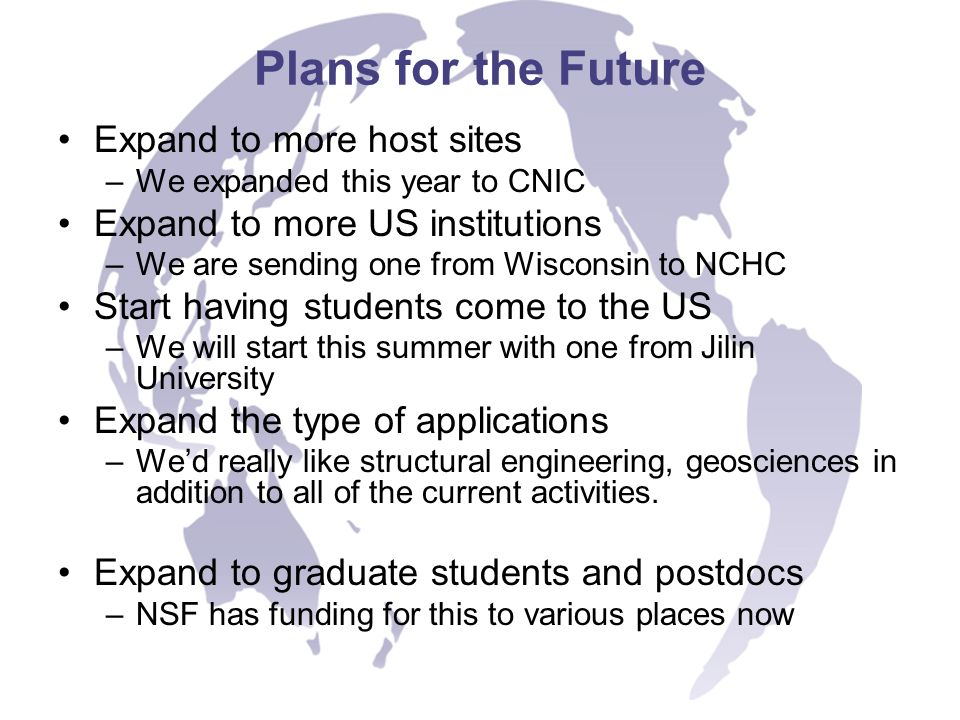 Plans for the Future Expand to more host sites –We expanded this year to CNIC Expand to more US institutions –We are sending one from Wisconsin to NCH