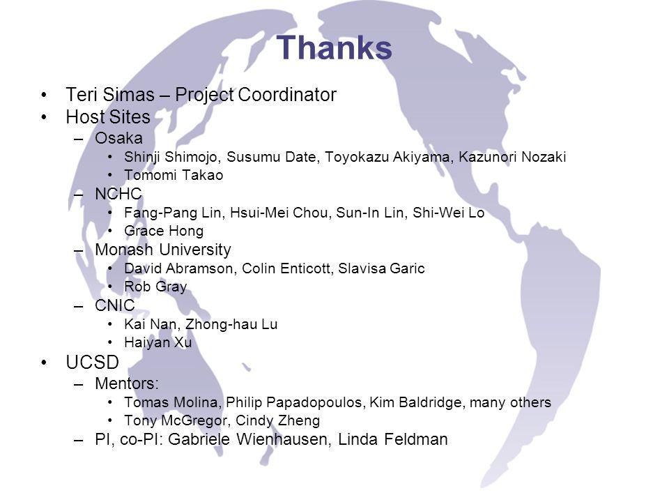 Thanks Teri Simas – Project Coordinator Host Sites –Osaka Shinji Shimojo, Susumu Date, Toyokazu Akiyama, Kazunori Nozaki Tomomi Takao –NCHC Fang-Pang