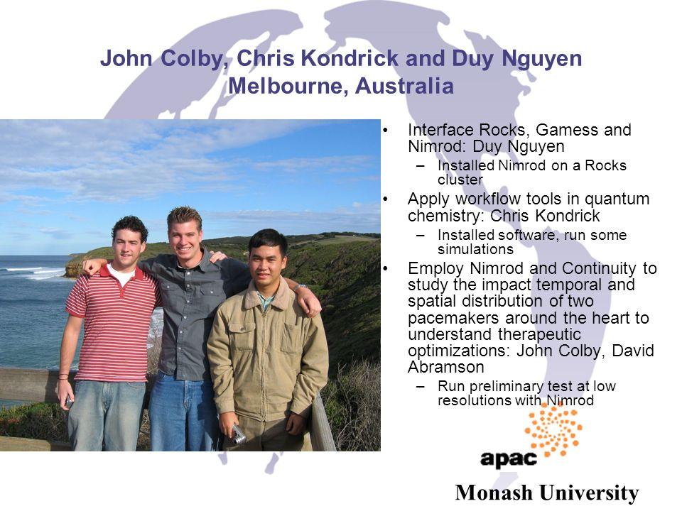 John Colby, Chris Kondrick and Duy Nguyen Melbourne, Australia Interface Rocks, Gamess and Nimrod: Duy Nguyen –Installed Nimrod on a Rocks cluster App