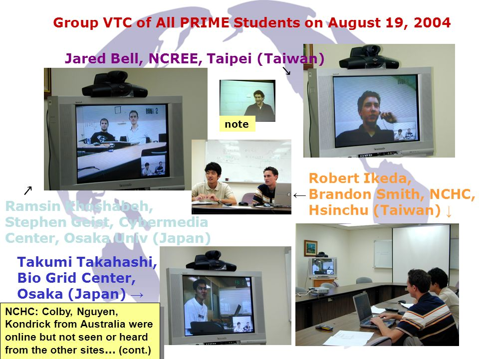 Jared Bell, NCREE, Taipei (Taiwan) Robert Ikeda, Brandon Smith, NCHC, Hsinchu (Taiwan) Group VTC of All PRIME Students on August 19, 2004 Ramsin Khoshabeh, Stephen Geist, Cybermedia Center, Osaka Univ (Japan) Takumi Takahashi, Bio Grid Center, Osaka (Japan) NCHC: Colby, Nguyen, Kondrick from Australia were online but not seen or heard from the other sites … (cont.) note