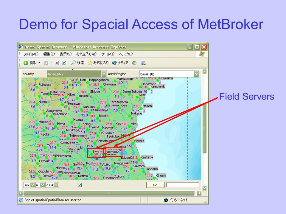 Demo for Spacial Access of MetBroker Field Servers