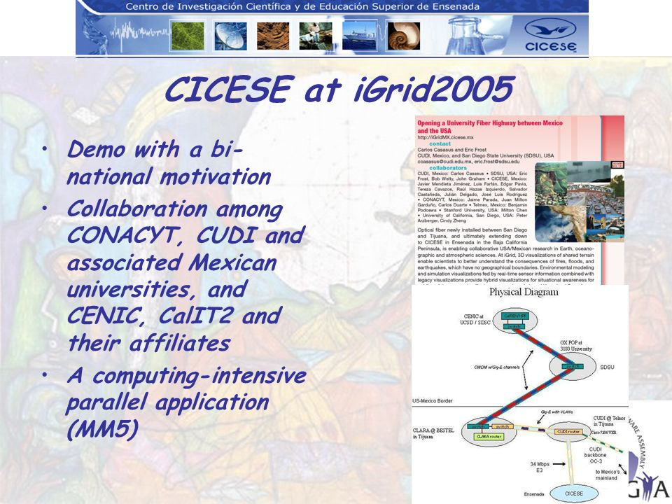 CICESE at iGrid2005 Demo with a bi- national motivation Collaboration among CONACYT, CUDI and associated Mexican universities, and CENIC, CalIT2 and their affiliates A computing-intensive parallel application (MM5)