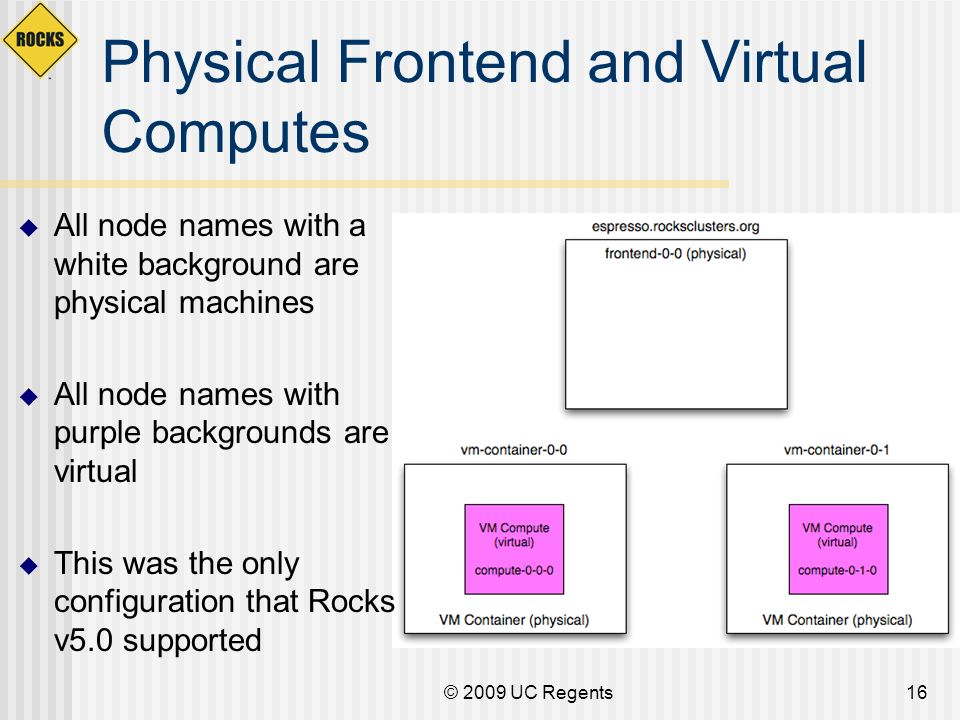 © 2009 UC Regents16 Physical Frontend and Virtual Computes All node names with a white background are physical machines All node names with purple bac