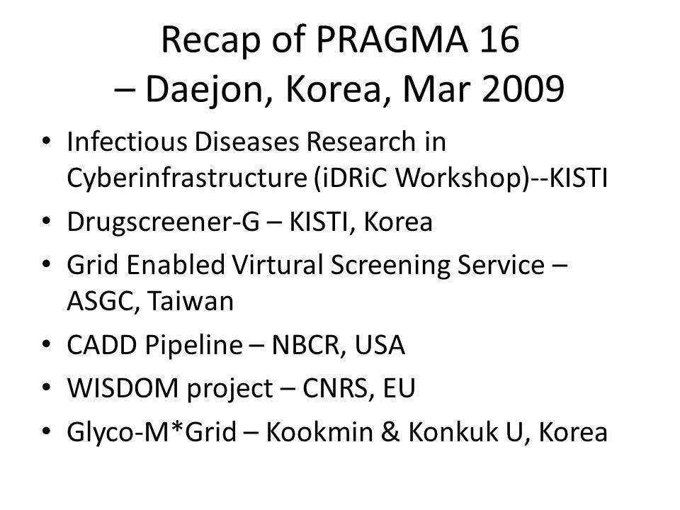 Recap of PRAGMA 16 – Daejon, Korea, Mar 2009 Infectious Diseases Research in Cyberinfrastructure (iDRiC Workshop)--KISTI Drugscreener-G – KISTI, Korea Grid Enabled Virtural Screening Service – ASGC, Taiwan CADD Pipeline – NBCR, USA WISDOM project – CNRS, EU Glyco-M*Grid – Kookmin & Konkuk U, Korea