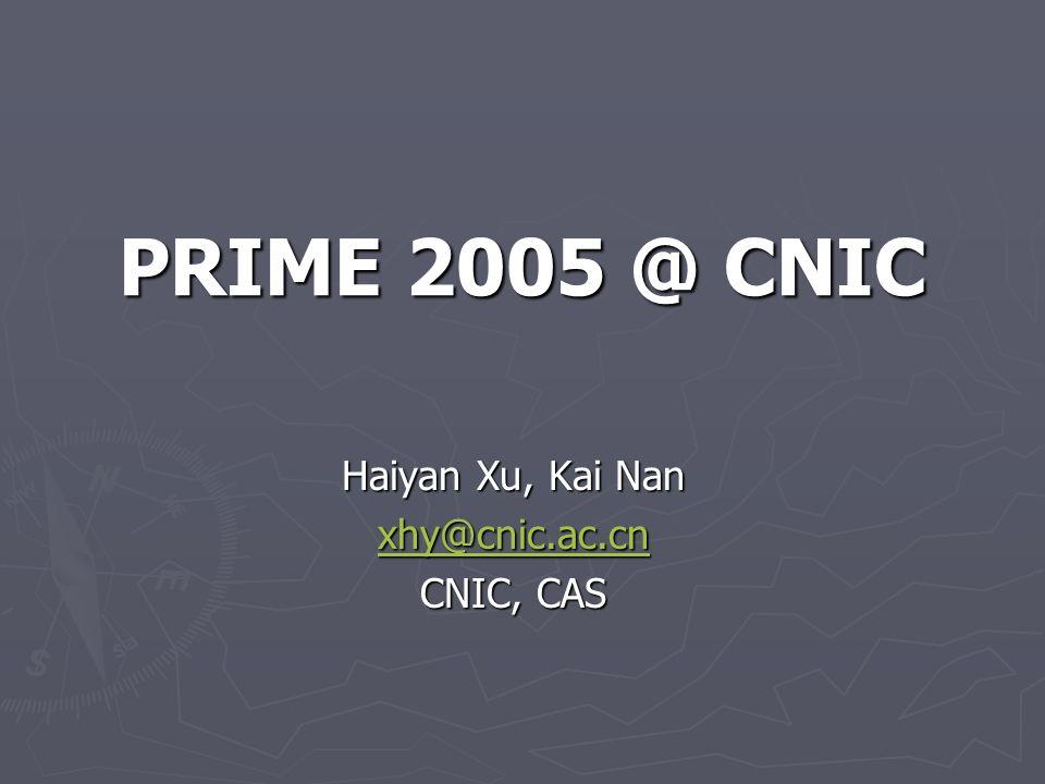 PRIME 2005 @ CNIC Haiyan Xu, Kai Nan xhy@cnic.ac.cn CNIC, CAS