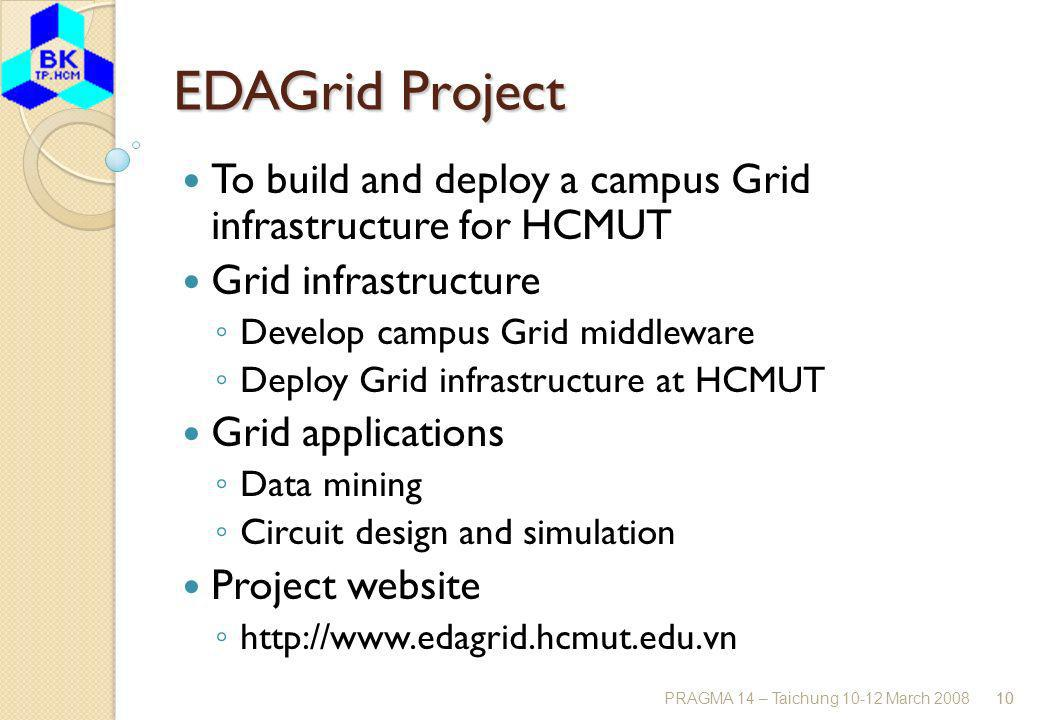 PRAGMA 14 – Taichung 10-12 March 200810 EDAGrid Project To build and deploy a campus Grid infrastructure for HCMUT Grid infrastructure Develop campus Grid middleware Deploy Grid infrastructure at HCMUT Grid applications Data mining Circuit design and simulation Project website http://www.edagrid.hcmut.edu.vn 10
