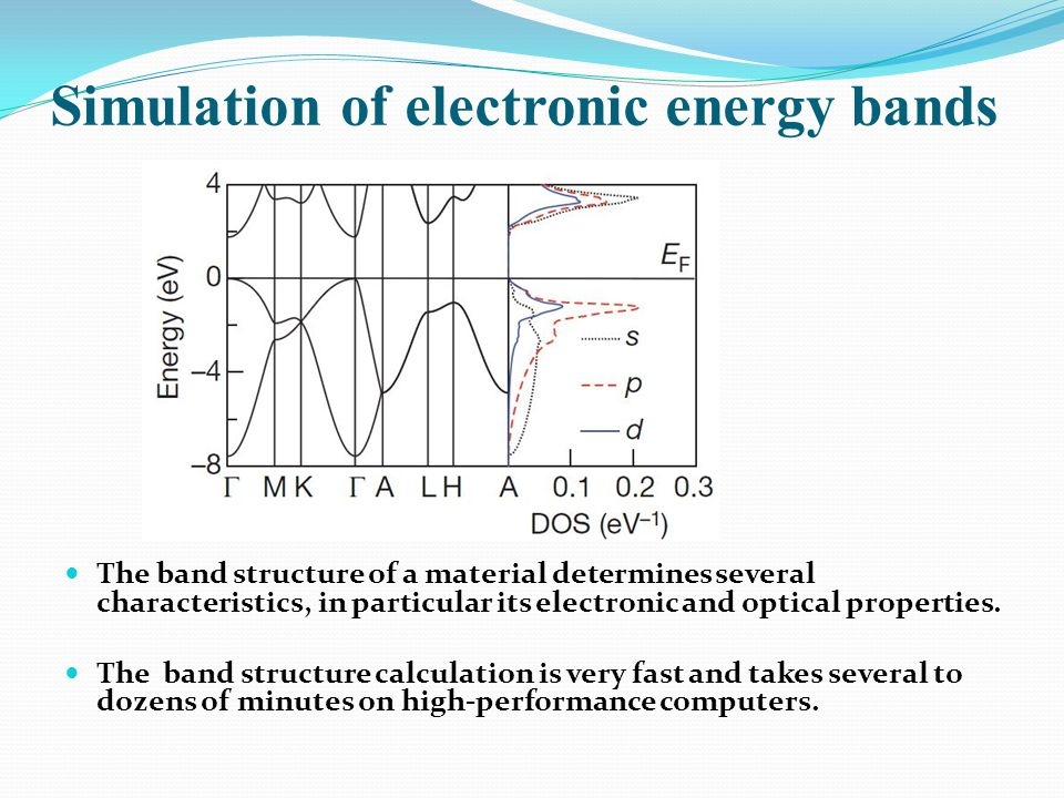 Simulation of electronic energy bands The band structure of a material determines several characteristics, in particular its electronic and optical pr