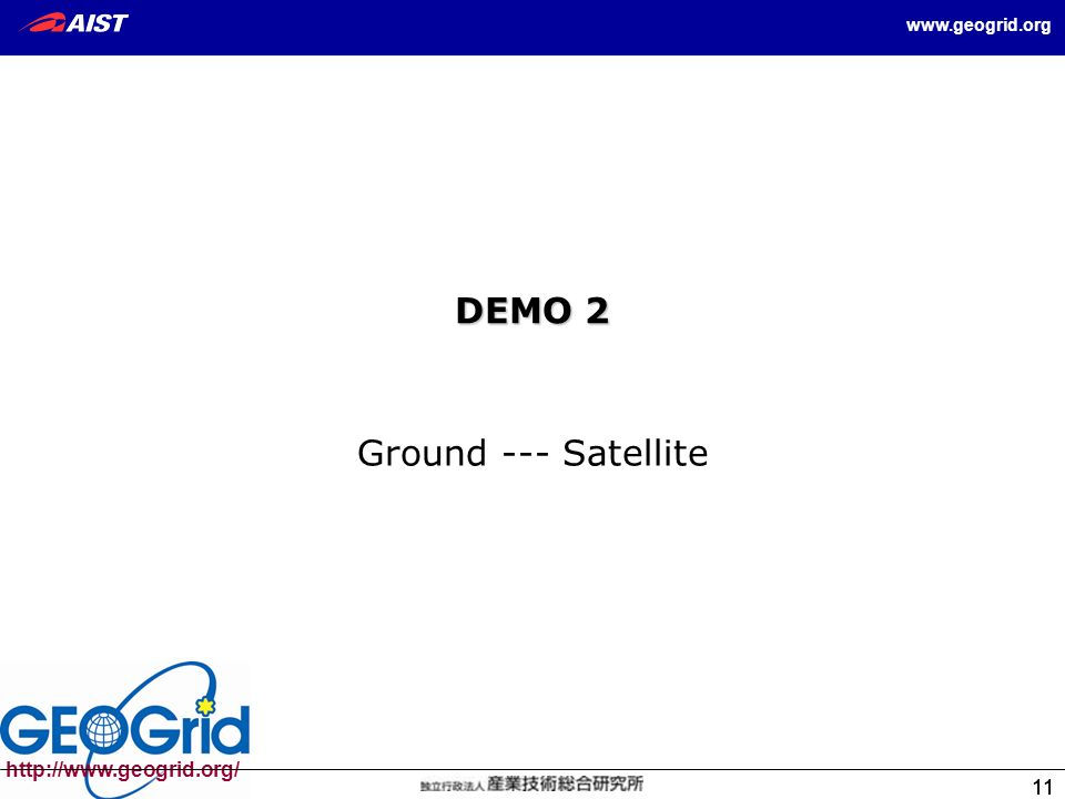 11 11 http://www.geogrid.org/ www.geogrid.org 11 DEMO 2 Ground --- Satellite
