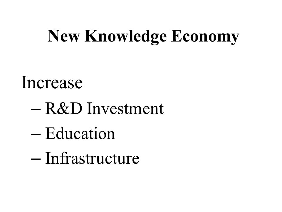 New Knowledge Economy Increase – R&D Investment – Education – Infrastructure