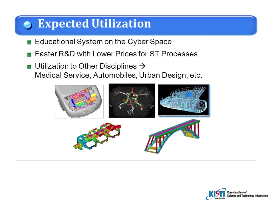 Educational System on the Cyber Space Faster R&D with Lower Prices for ST Processes Utilization to Other Disciplines Medical Service, Automobiles, Urban Design, etc.