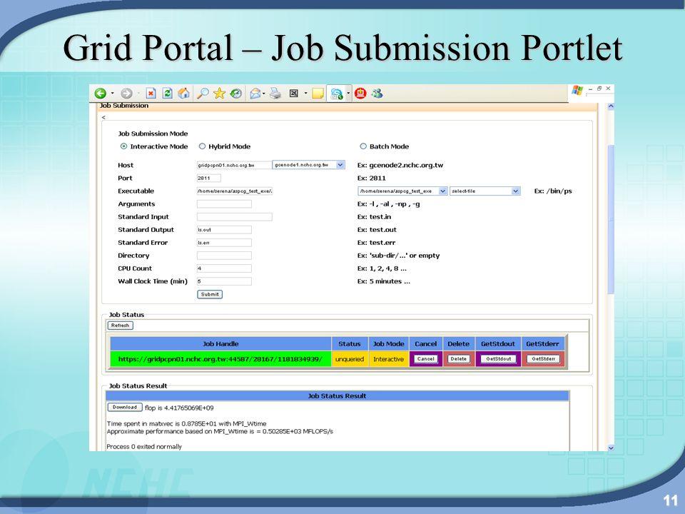 11 Grid Portal – Job Submission Portlet