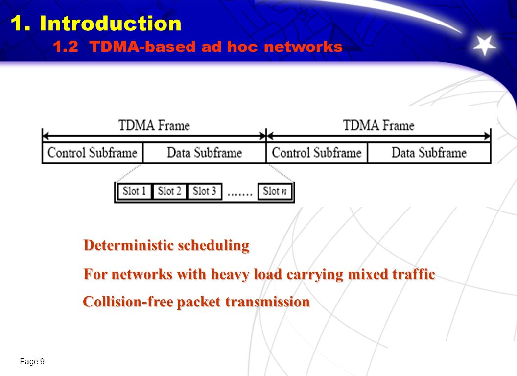 Page 9 For networks with heavy load carrying mixed traffic Deterministic scheduling Collision-free packet transmission 1.