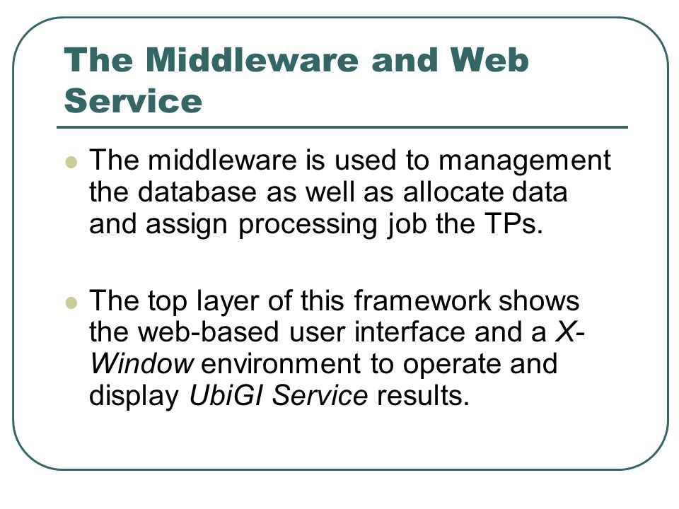 The Middleware and Web Service The middleware is used to management the database as well as allocate data and assign processing job the TPs.
