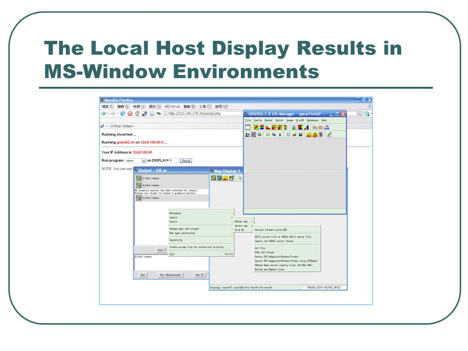 The Local Host Display Results in MS-Window Environments