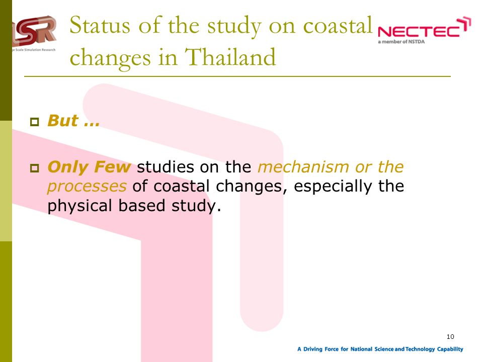 10 Status of the study on coastal changes in Thailand But … Only Few studies on the mechanism or the processes of coastal changes, especially the phys