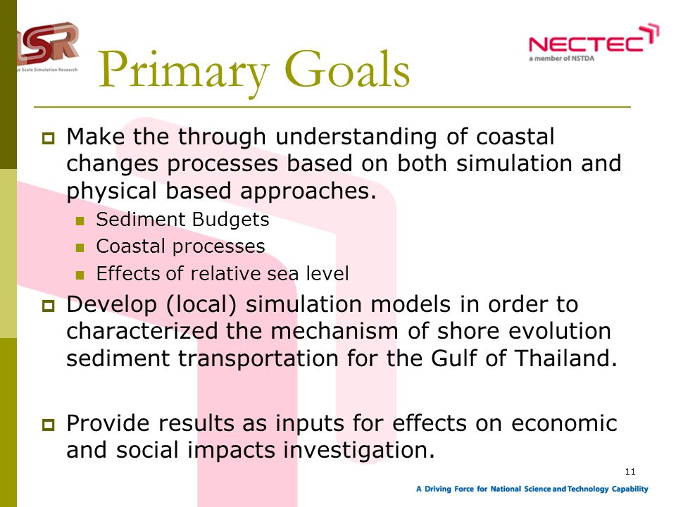 11 Primary Goals Make the through understanding of coastal changes processes based on both simulation and physical based approaches.