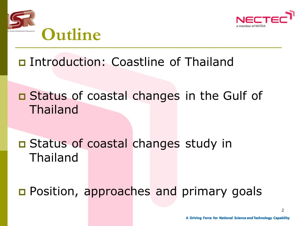 2 Outline Introduction: Coastline of Thailand Status of coastal changes in the Gulf of Thailand Status of coastal changes study in Thailand Position,