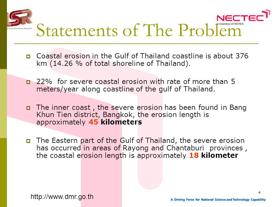 4 Statements of The Problem Coastal erosion in the Gulf of Thailand coastline is about 376 km (14.26 % of total shoreline of Thailand). 22% for severe