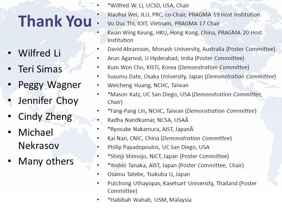 Thank You Wilfred Li Teri Simas Peggy Wagner Jennifer Choy Cindy Zheng Michael Nekrasov Many others *Wilfred W. Li, UCSD, USA, Chair Xiaohui Wei, JLU,