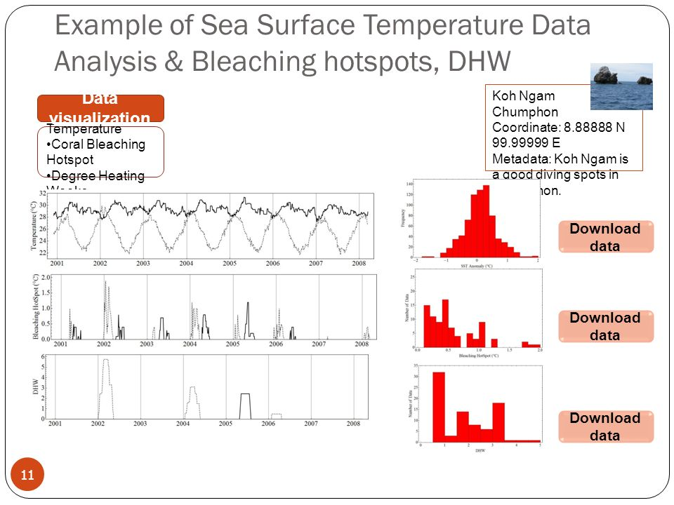 11 Example of Sea Surface Temperature Data Analysis & Bleaching hotspots, DHW Sea Surface Temperature Coral Bleaching Hotspot Degree Heating Weeks Data visualization Koh Ngam Chumphon Coordinate: N E Metadata: Koh Ngam is a good diving spots in Chumphon.