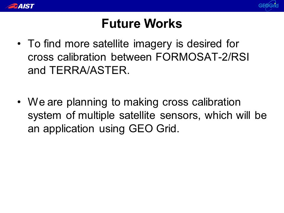 Future Works To find more satellite imagery is desired for cross calibration between FORMOSAT-2/RSI and TERRA/ASTER.
