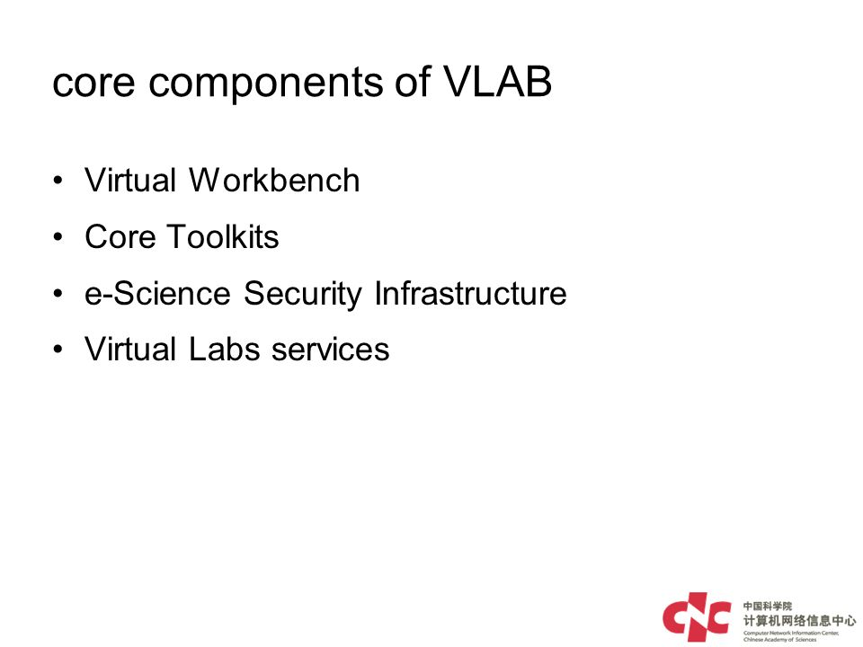 core components of VLAB Virtual Workbench Core Toolkits e-Science Security Infrastructure Virtual Labs services