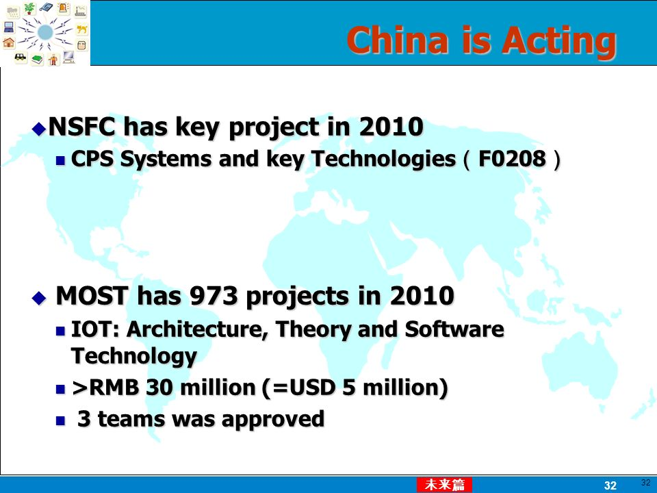32 China is Acting 32 NSFC has key project in 2010 NSFC has key project in 2010 CPS Systems and key Technologies F0208 CPS Systems and key Technologies F0208 MOST has 973 projects in 2010 MOST has 973 projects in 2010 IOT: Architecture, Theory and Software Technology IOT: Architecture, Theory and Software Technology >RMB 30 million (=USD 5 million) >RMB 30 million (=USD 5 million) 3 teams was approved 3 teams was approved