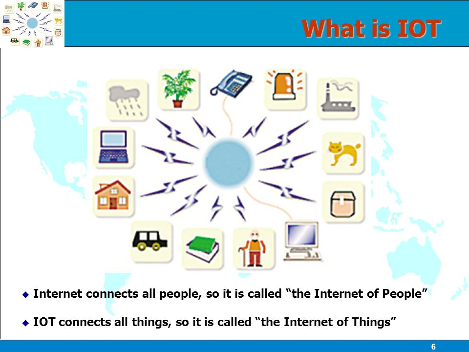 6 What is IOT Internet connects all people, so it is called the Internet of People IOT connects all things, so it is called the Internet of Things