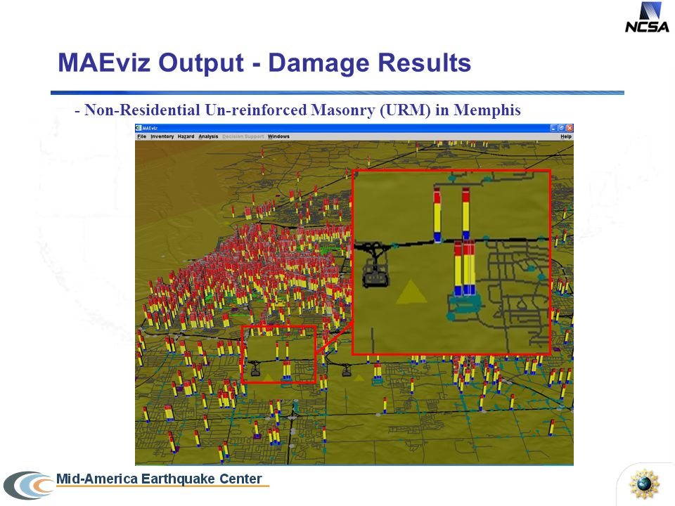 MAEviz Output - Damage Results - Non-Residential Un-reinforced Masonry (URM) in Memphis