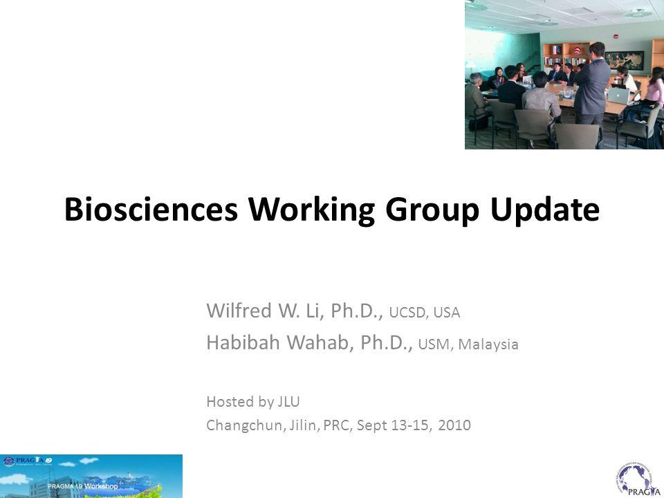 Biosciences Working Group Update Wilfred W.