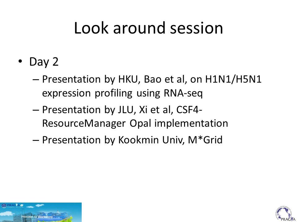 Look around session Day 2 – Presentation by HKU, Bao et al, on H1N1/H5N1 expression profiling using RNA-seq – Presentation by JLU, Xi et al, CSF4- ResourceManager Opal implementation – Presentation by Kookmin Univ, M*Grid
