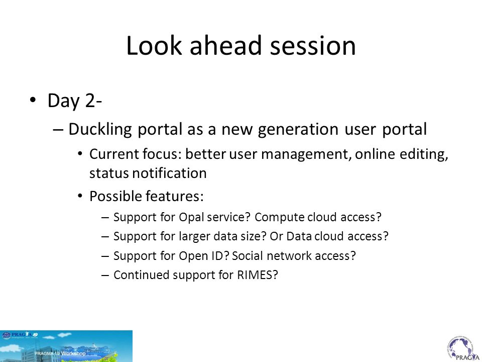 Look ahead session Day 2- – Duckling portal as a new generation user portal Current focus: better user management, online editing, status notification