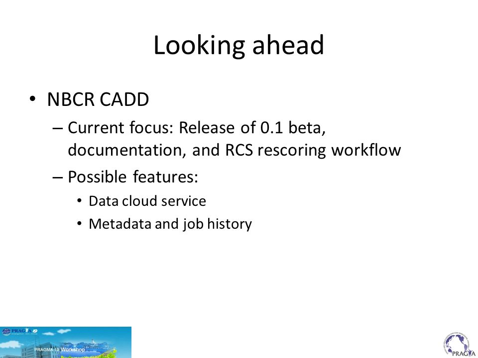 Looking ahead NBCR CADD – Current focus: Release of 0.1 beta, documentation, and RCS rescoring workflow – Possible features: Data cloud service Metadata and job history