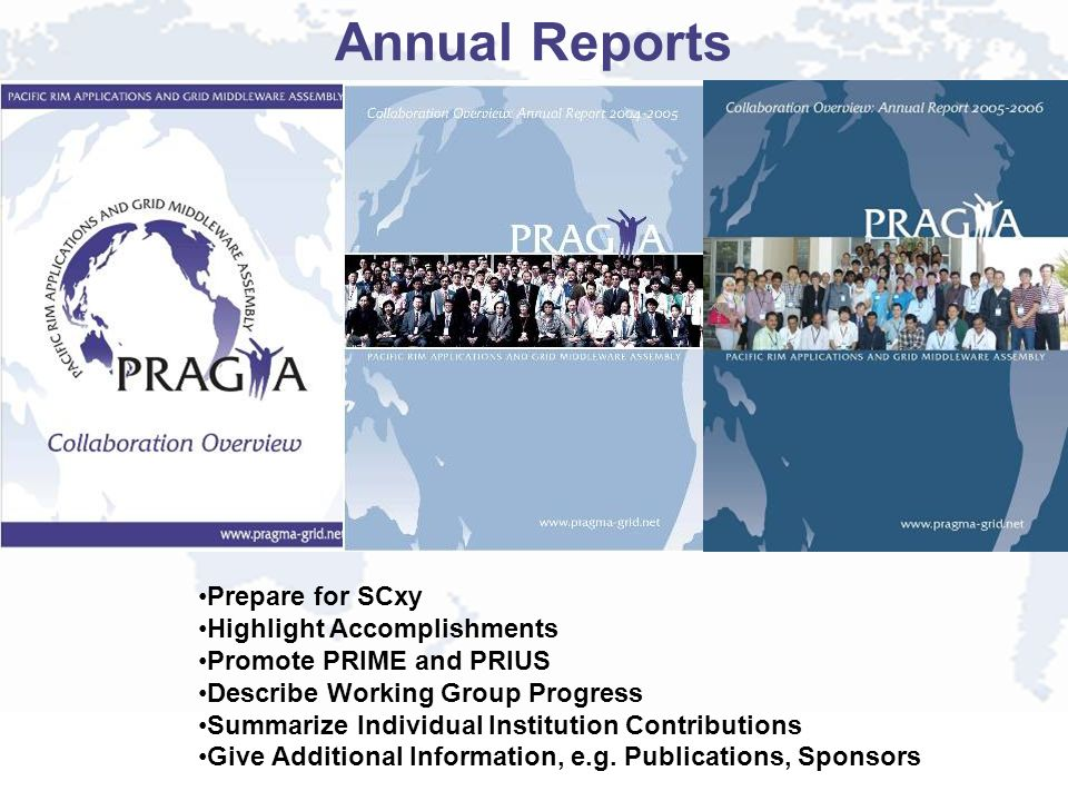 Annual Reports Prepare for SCxy Highlight Accomplishments Promote PRIME and PRIUS Describe Working Group Progress Summarize Individual Institution Contributions Give Additional Information, e.g.