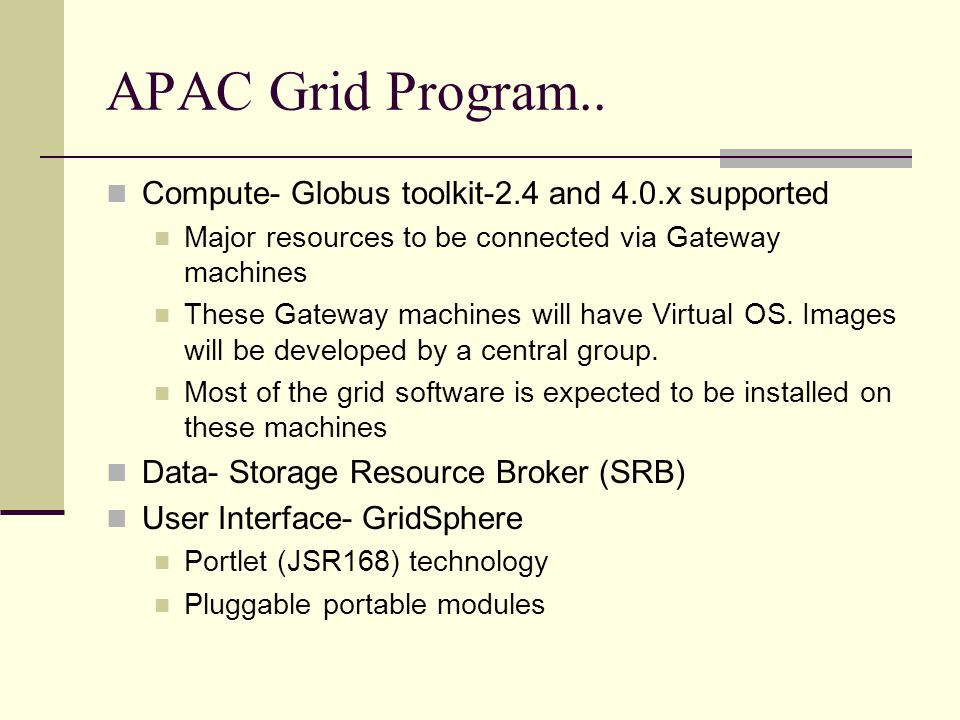 APAC Grid Program..
