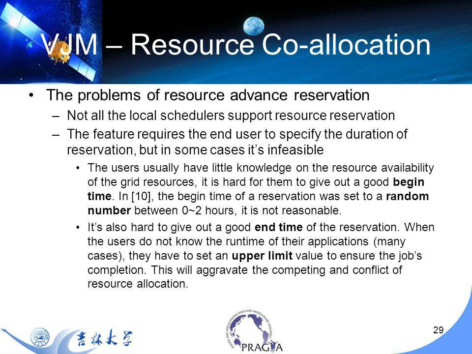 29 VJM – Resource Co-allocation The problems of resource advance reservation –Not all the local schedulers support resource reservation –The feature requires the end user to specify the duration of reservation, but in some cases its infeasible The users usually have little knowledge on the resource availability of the grid resources, it is hard for them to give out a good begin time.