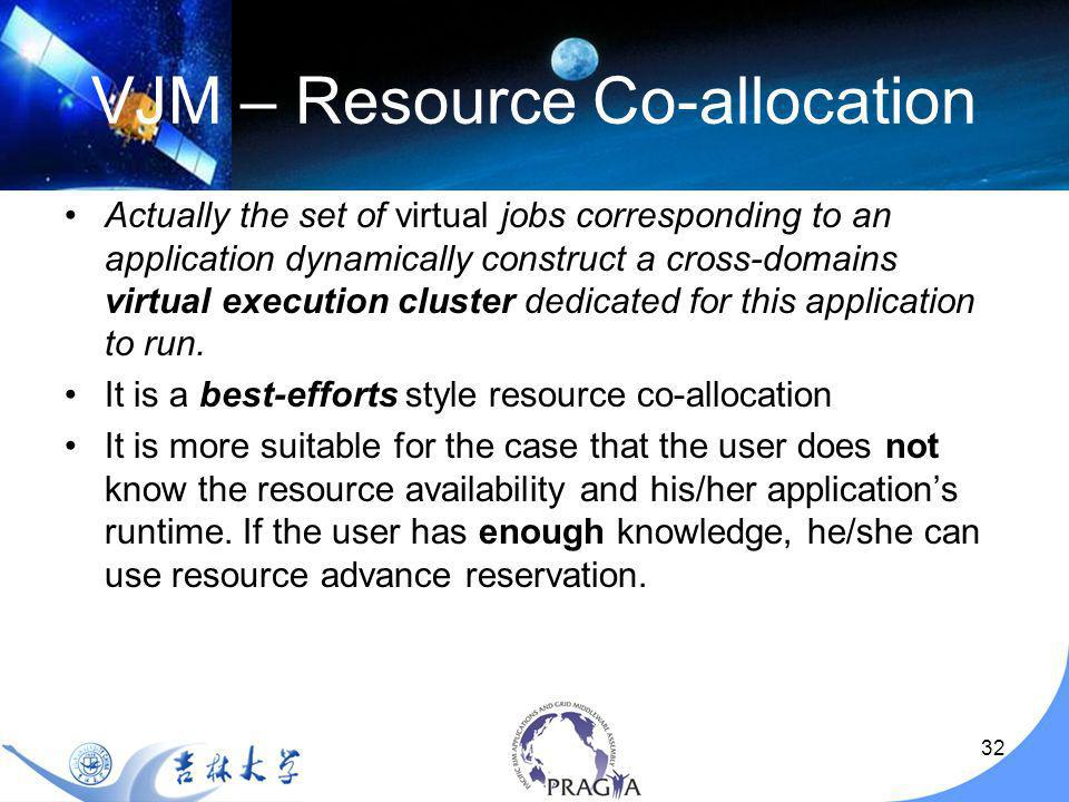 32 VJM – Resource Co-allocation Actually the set of virtual jobs corresponding to an application dynamically construct a cross-domains virtual execution cluster dedicated for this application to run.