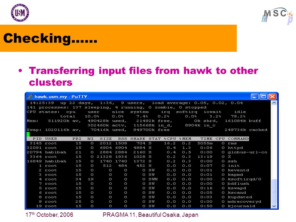 17 th October, 2006PRAGMA 11, Beautiful Osaka, Japan Checking…… Transferring input files from hawk to other clusters