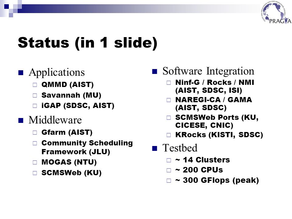 Status (in 1 slide) Applications QMMD (AIST) Savannah (MU) iGAP (SDSC, AIST) Middleware Gfarm (AIST) Community Scheduling Framework (JLU) MOGAS (NTU)
