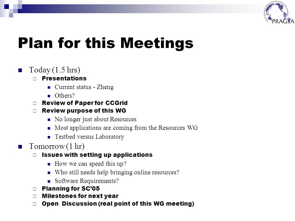 Plan for this Meetings Today (1.5 hrs) Presentations Current status - Zheng Others? Review of Paper for CCGrid Review purpose of this WG No longer jus